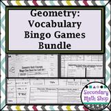 Geometry Vocabulary Bingo Games (Growing) Bundle