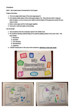 Geometry Vocabulary Book Project