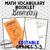 Geometry Vocabulary Booklet: EDITABLE Vocabulary Resource