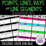 Geometry Vocabulary Bookmarks (Lines, Rays, Line Segments,