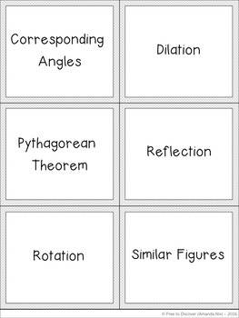 Geometry Vocabulary Card Game
