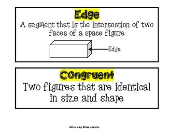 Vocabulary Cards-Geometry Terms (Shapes, Vertex, Angle, Edge, Face, & more!)
