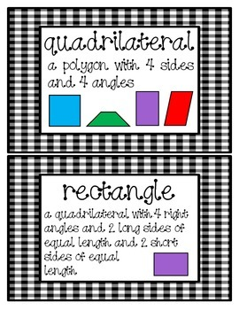 Geometry Vocabulary Cards for 2nd Grade