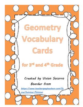 Geometry Vocabulary Cards