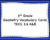 Geometry Vocabulary Cards- 3rd Grade