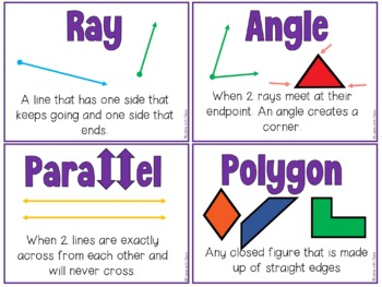 Geometry Vocabulary Cards and Word Work Activities