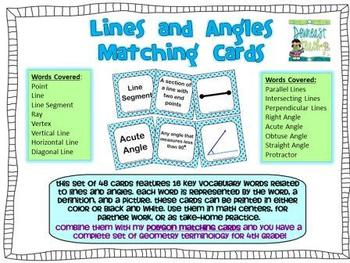 Geometry Vocabulary Cards for Lines and Angles
