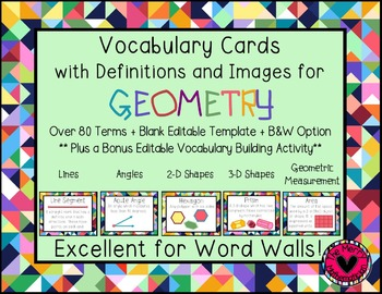 Geometry Vocabulary Cards for Word Walls + Sample Activity!