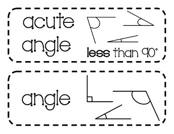 Geometry Vocabulary Cards with Pictures