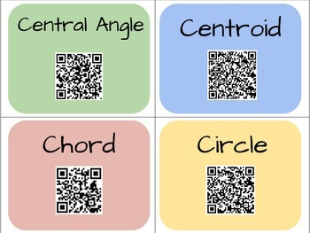 Geometry Vocabulary Cards with QR Codes