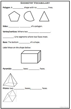 Geometry Vocabulary Cloze Sentences (with answer key)