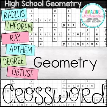 Geometry Vocabulary Crossword by Amazing Mathematics   Teachers ...