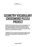 Geometry Vocabulary Crossword Puzzle Project