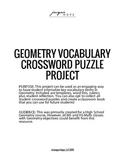 Geometry Vocabulary Crossword Puzzle Project
