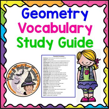 Geometry Vocabulary Words and Definitions Notes Reference Chart Study Guide