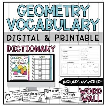 Geometry Vocabulary Dictionary
