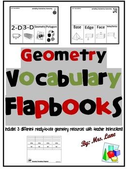 Geometry Vocabulary Flapbooks