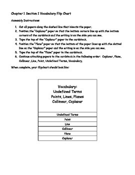 Geometry Vocabulary Flipchart - Undefined Terms, Collinear, Coplanar