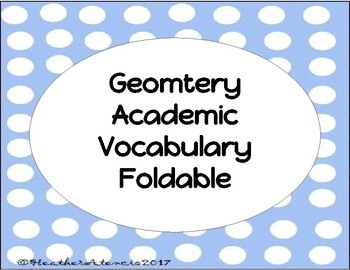 Geometry Vocabulary Foldable