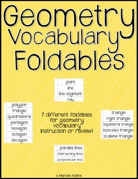 Geometry Vocabulary Foldables