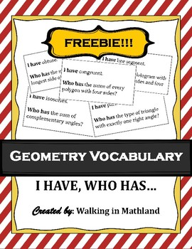 Geometry Vocabulary Game Activity : I have, who has