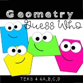 Geometry Vocabulary Guess Who Game for Math Stations for TEKS 4.6A, B, C, and D