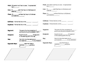 Geometry Vocabulary Guided Notes