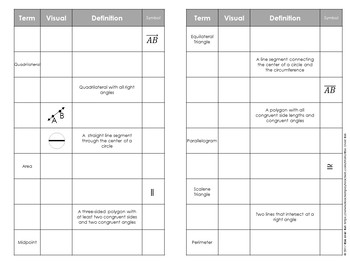 Geometry Vocabulary: Study Guide Foldable