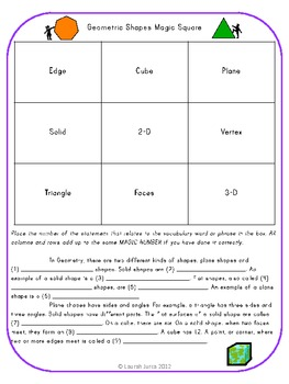 Geometry Magic Vocabulary Square Activity
