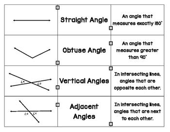 Geometry Vocabulary Match Up