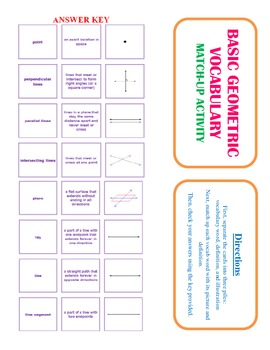 Geometry Vocabulary Match Up Activity