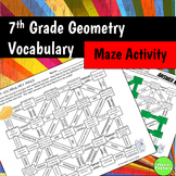 Geometry Vocabulary Maze Activity 7th Grade