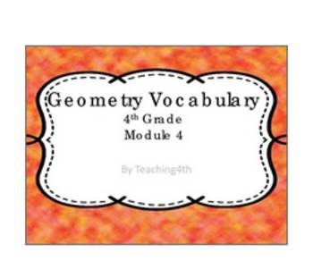 Vocabulary Cards- Geometry Module 4 NY Engage- Centers Resource