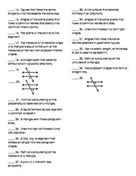 Geometry Vocabulary Pre-Test