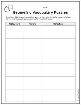 Geometry Vocabulary Puzzles