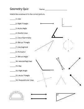 Geometry Vocabulary Quiz Worksheets & Teaching Resources | TpT
