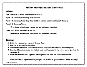 Geometry Vocabulary Relay Activity
