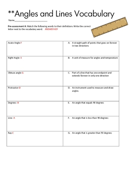 Geometry Vocabulary Review and Quizzes