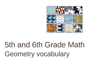 Geometry Vocabulary Review for Middle Grades PowerPoint