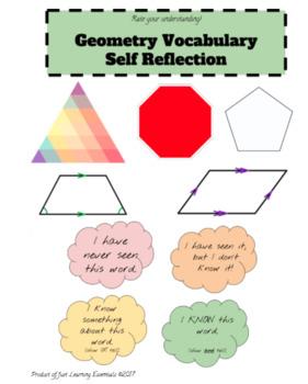 Geometry Vocabulary Self Rating