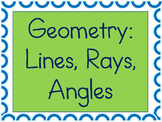 Geometry Vocabulary Sheet and Worksheets for Lines, Rays,