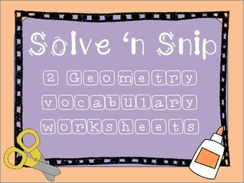 Geometry Vocabulary- Cut and Solve