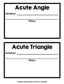 Geometry Vocabulary: Student-Created Book w/ Definitions/Terms/Illustrations