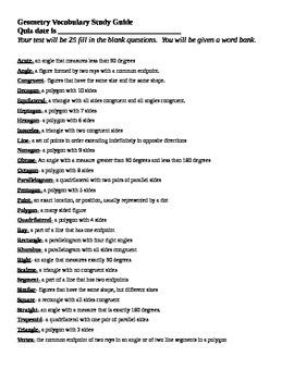Geometry Vocabulary Study Guide