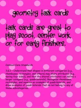 Geometry Vocabulary Task Cards