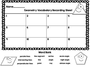 Geometry Vocabulary Task Cards