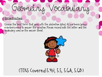 Geometry Vocabulary Task Cards (TEKS 5.5, 5.4H, 5.6A, 5.6B)