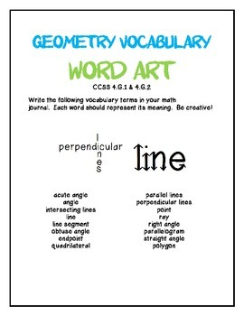 Geometry Vocabulary Word Art
