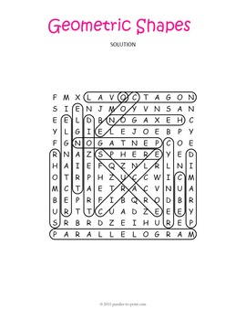 Geometric Shapes Word Search Puzzle
