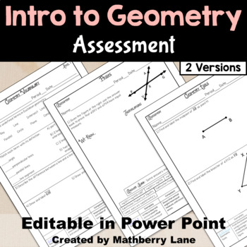 Geometry Vocabulary and Intro to Proofs Assessment Test Editable